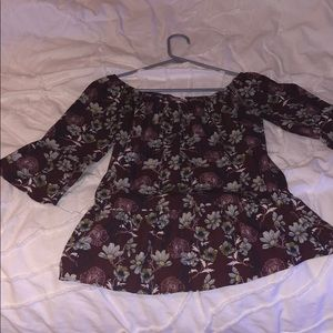 Franchescas floral off the shoulder shirt